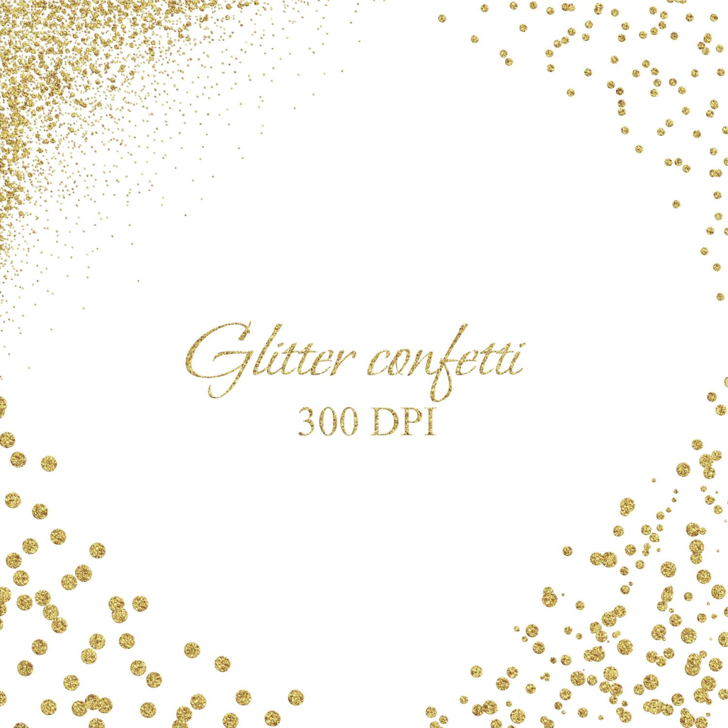 Gold Confetti Borders And Corner Digital Glitter Clipart Polka Dot Overlays Instant Download