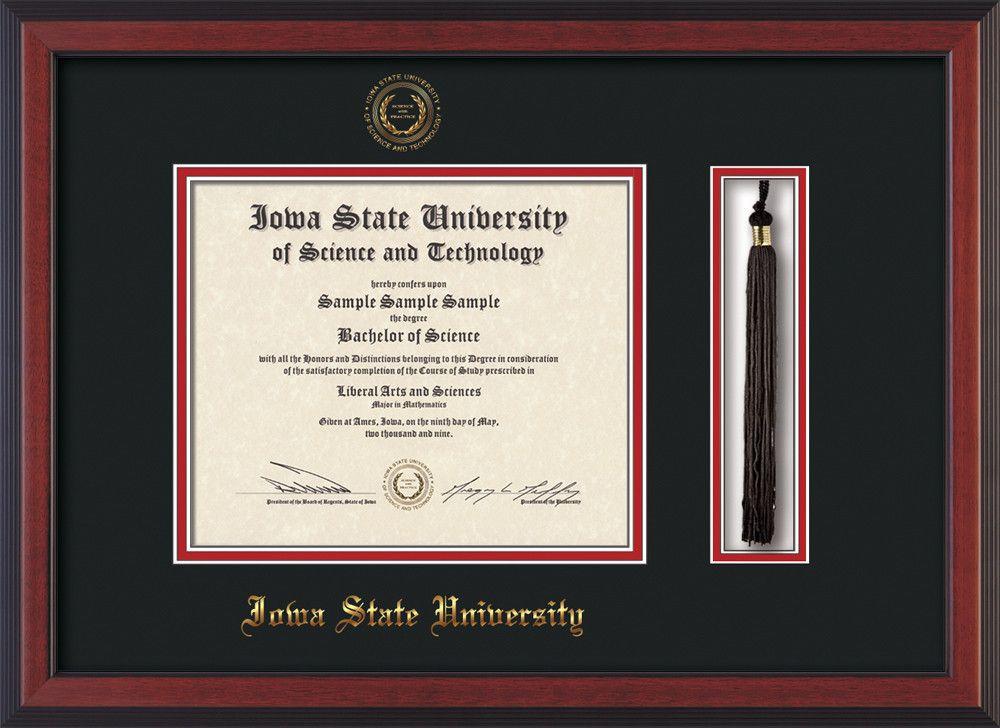 Iowa State U. Diploma Frame-Cherry Reverse-w/ISU seal Black/Red ...