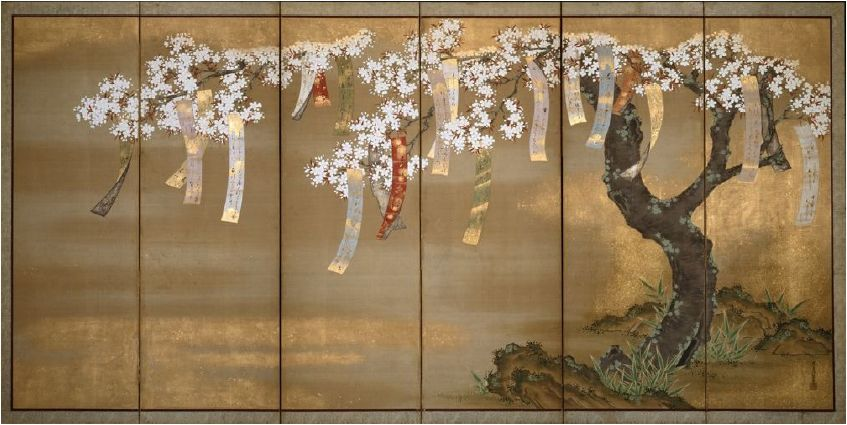 Flowering cherry with poem slips japanese art styles