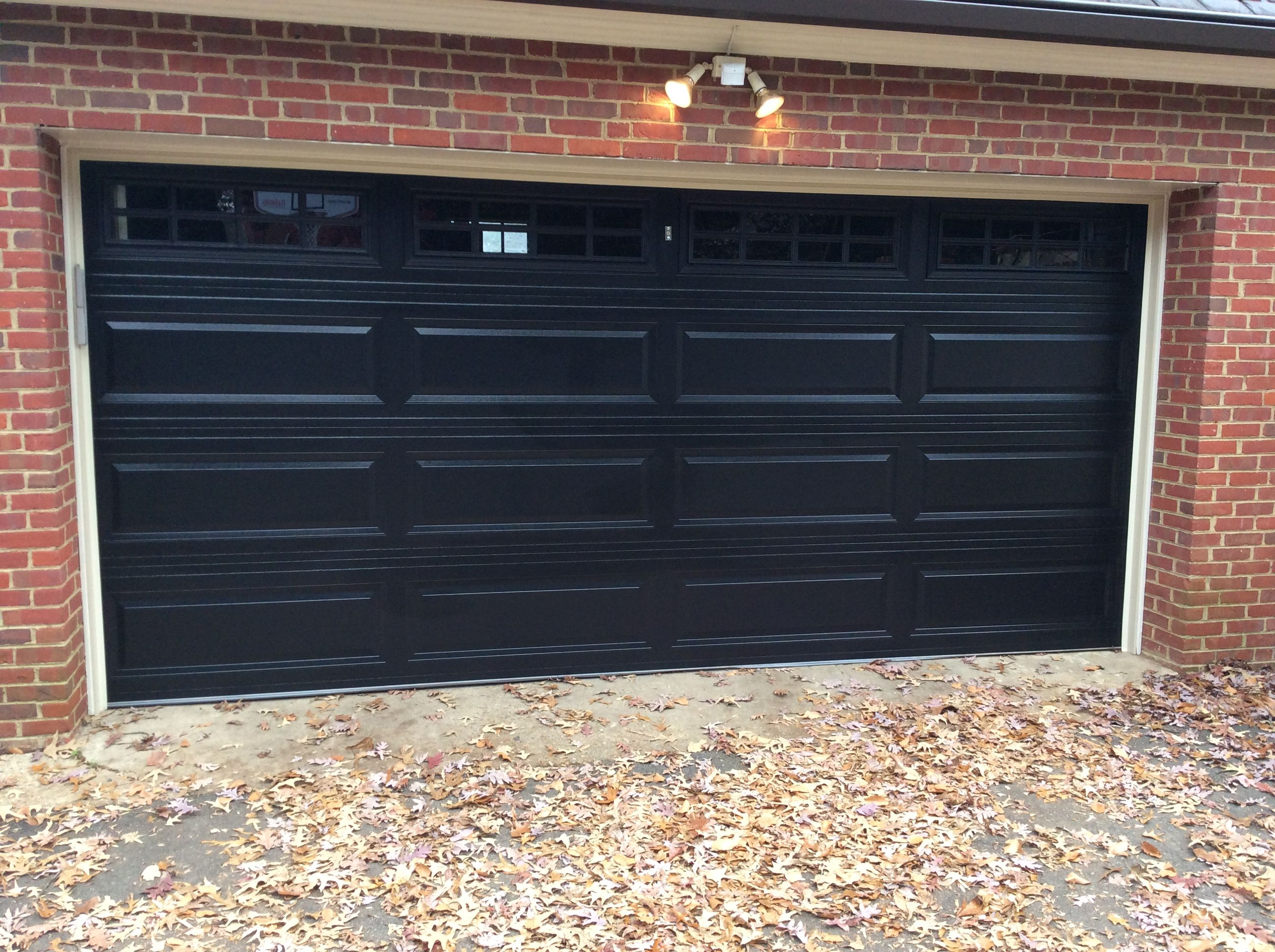 15x7 Model 2250 Raised Long Panel Steel Garage Door Black With Top