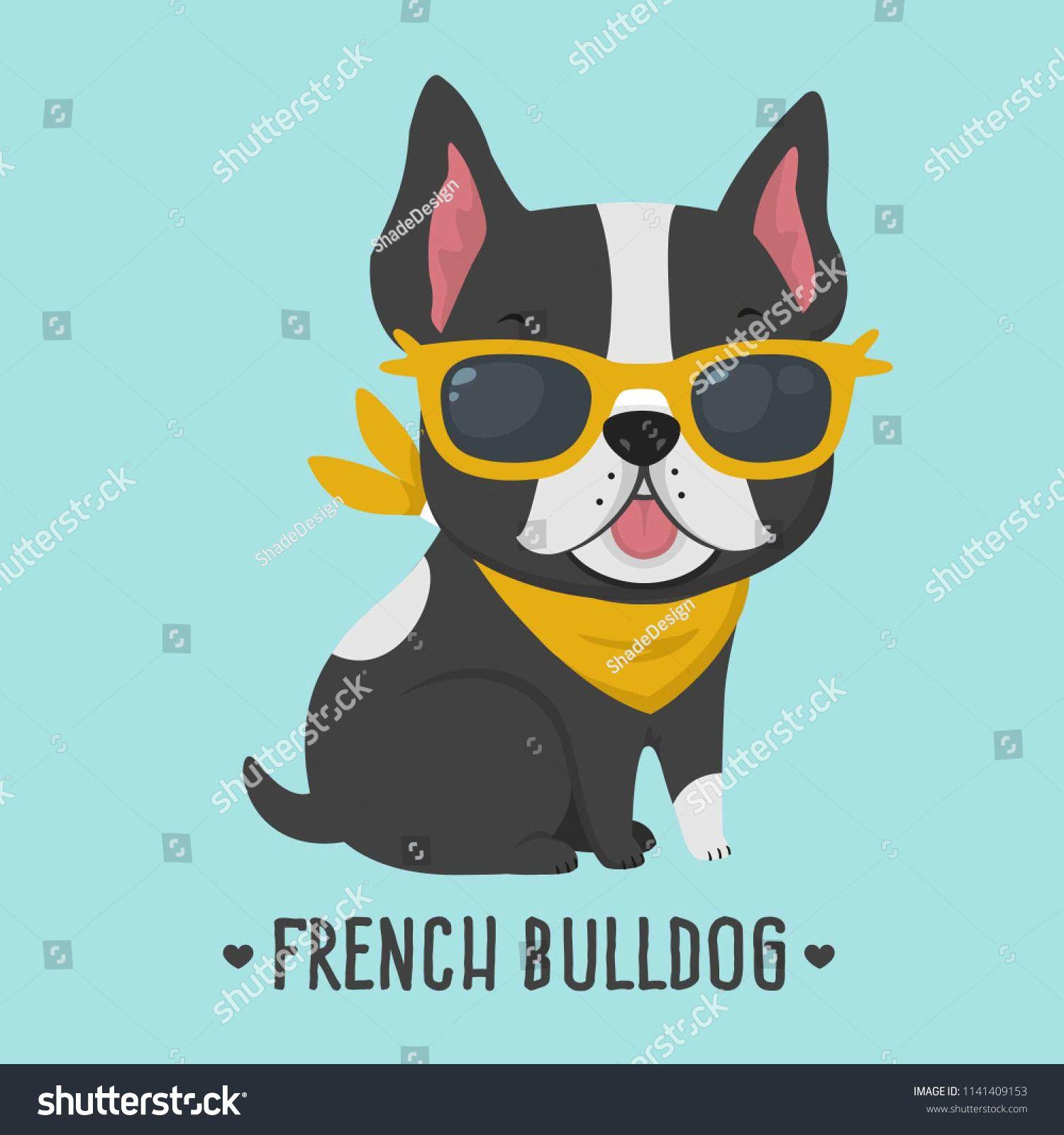 Vector Icon Dog Breed French Bulldog Puppy Bulldog In Yellow