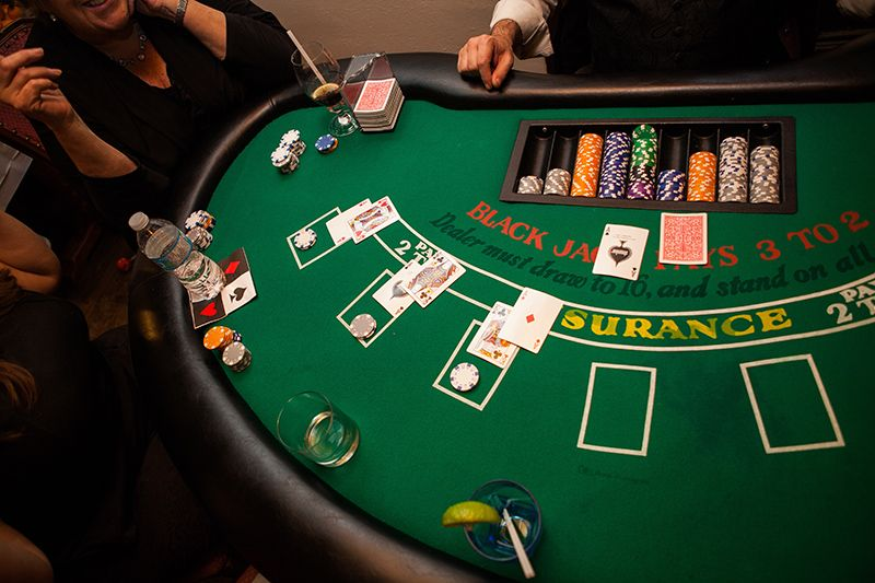 Game Night Glass Tables: Blackjack Table Rental In Action.