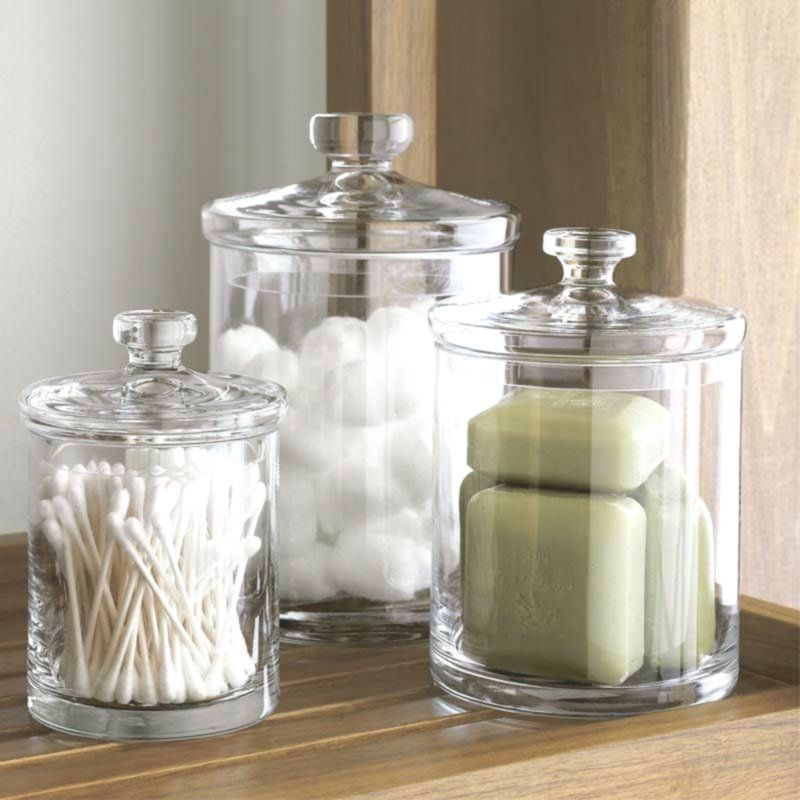 44 Creative Storage Ideas For Organizing Your Small Bathroom New Decor In 2020 Glass Canisters Small Bathroom Organization Well Decor