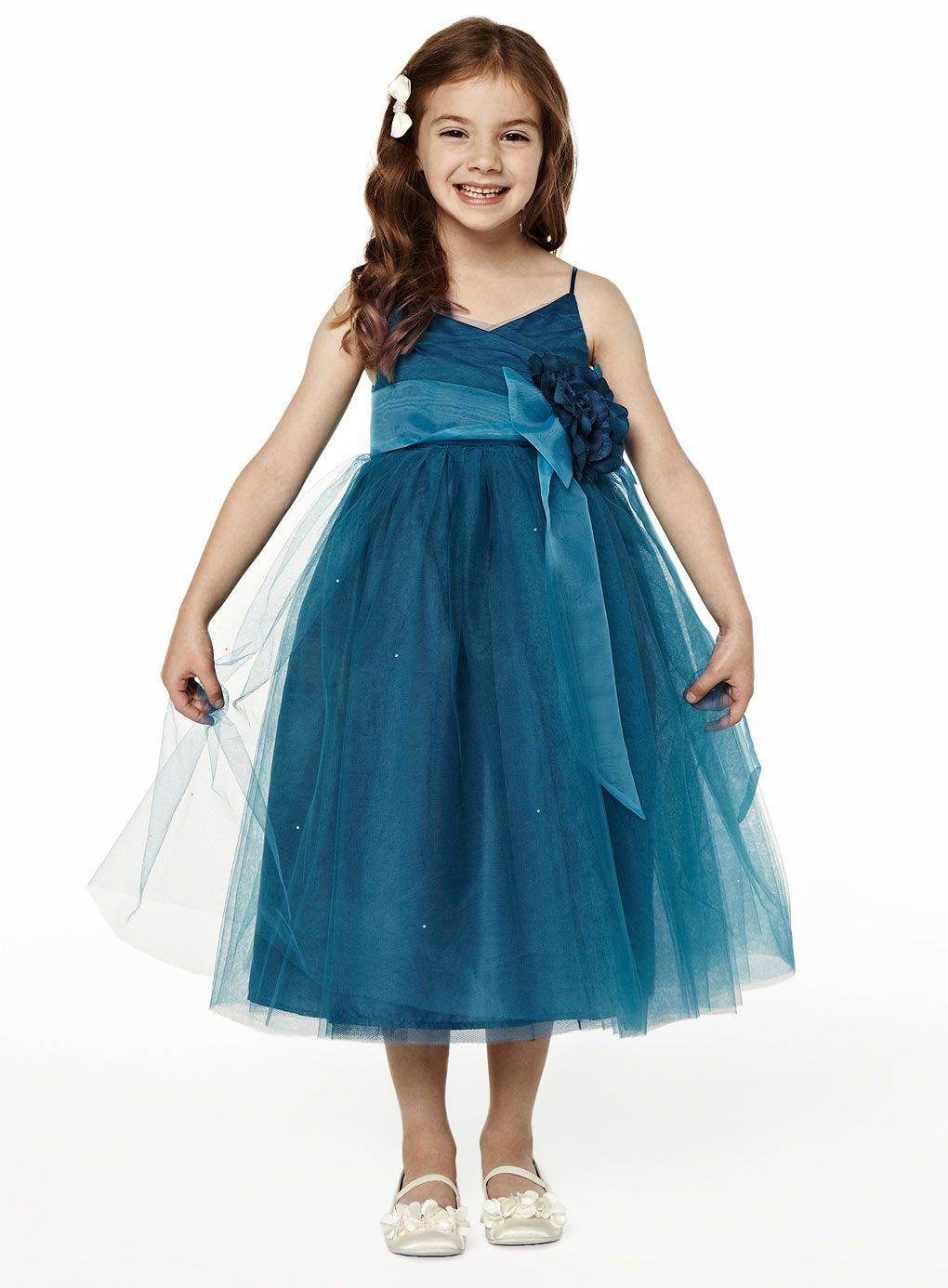 winter teal double straps ruched tulle flower girl dress | wedding ...