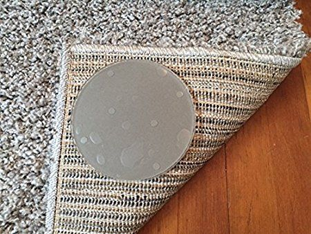 Sticky Discs Non Slip Rug Pads For Rug On Floor Anti Slip Rug Stickers No Residue 8 Pack Limits Medium Large Rugs Exercise Door Mat Rugs Large Rugs Rug Pad