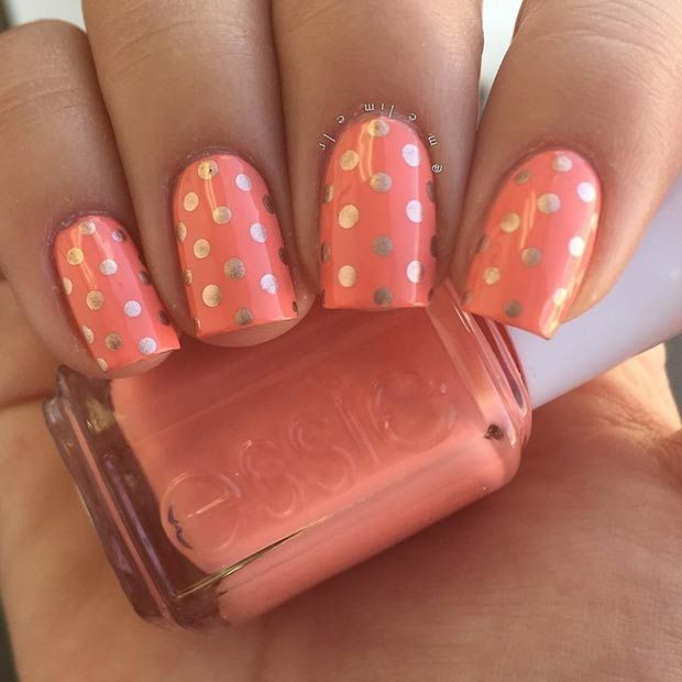 35 Bright Summer Nail Designs With Images Dots Nails Polka Dot Nails Bright Summer Nails