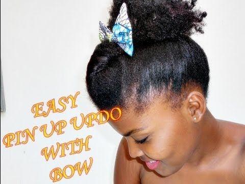 Coiffure rapide pour cheveux crépus courts (updo with bow