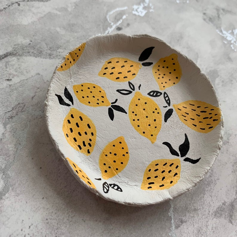 Handpainted lemon trinket dish