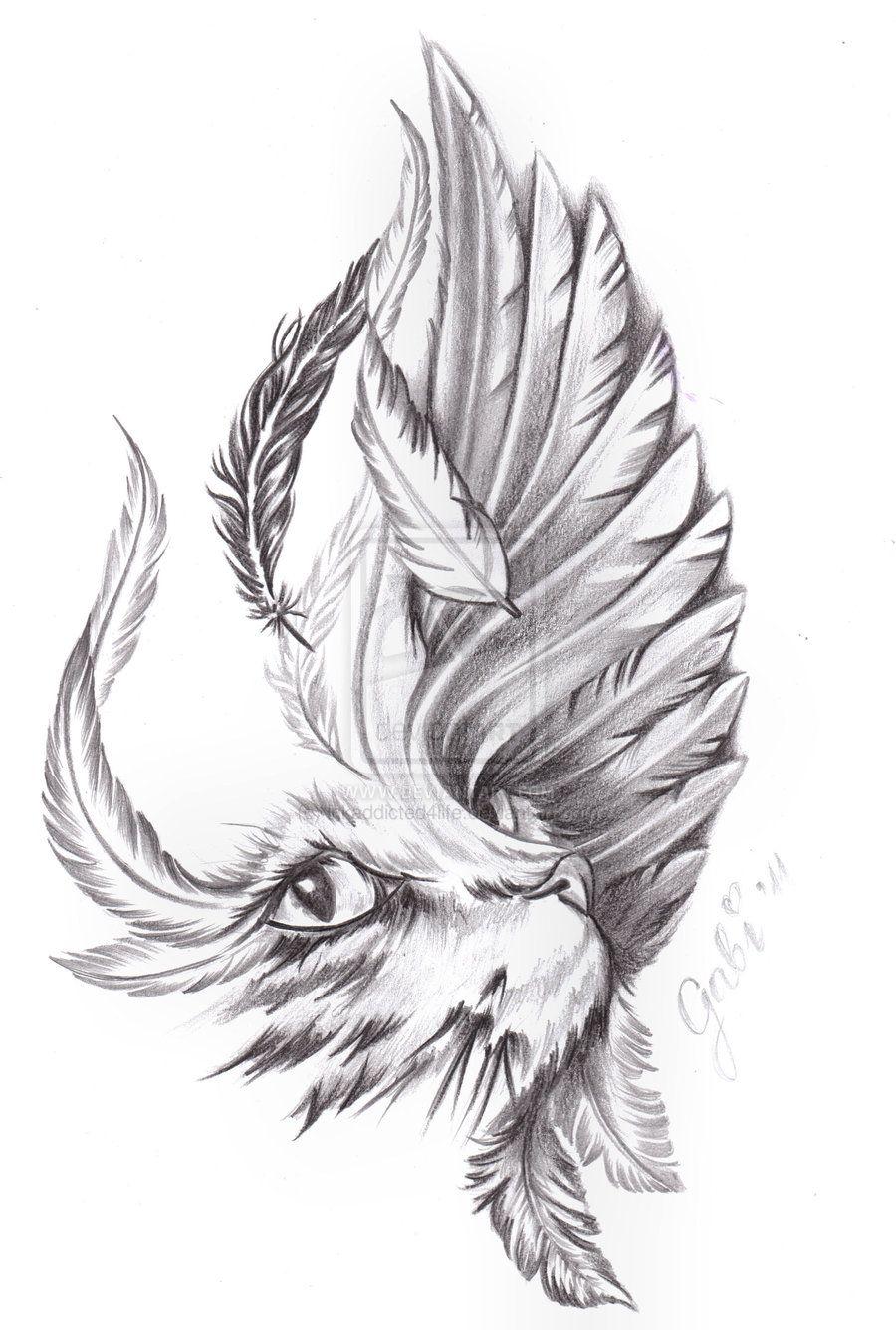 cat_and_bird_wing_by_inkaddicted4life-d5gkgdd.jpg (900×1336 ...