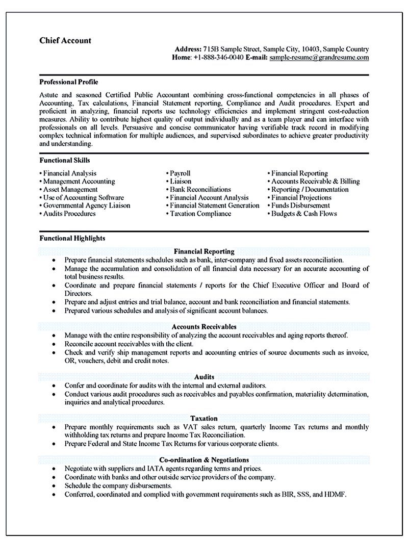 Accounting Resume Ought To Be Perfect In Any Way If You Want To Make A Resume To Be An Accounting It Is Ve Resume Profile Job Resume Format Accountant Resume