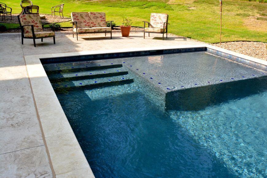 rectangle pool with tanning ledge | Rectangular Swimming ...