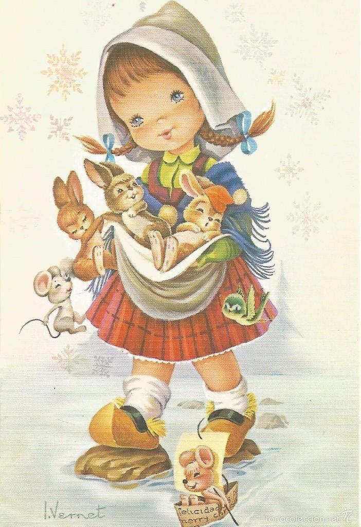Ll02 bonita felicitacion de navidad ilustrada por l - Ilustraciones infantiles antiguas ...