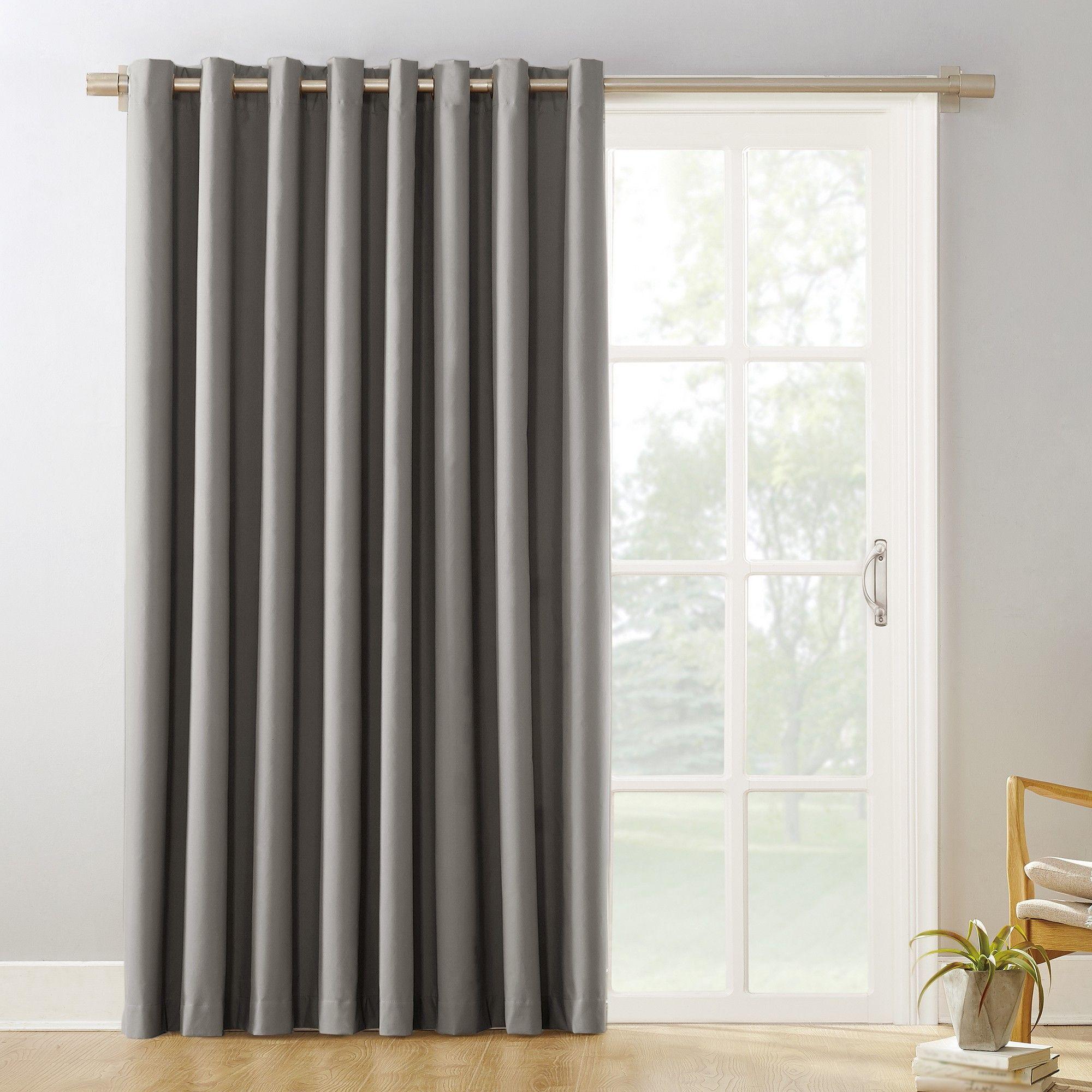 100 X84 Kenneth Extra Wide Blackout Sliding Patio Door Curtain Panel Gray Sun Zero Sliding Patio Doors Patio Doors Patio Door Curtains