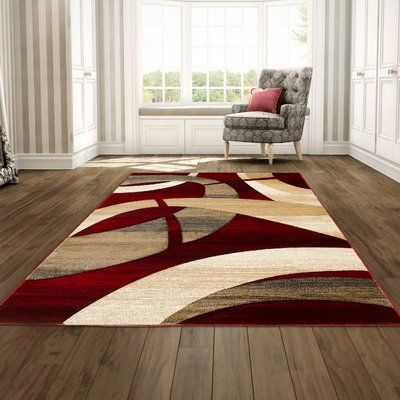 George Oliver Mirabal Abstract Hand Woven Red Tan Area Rug In 2020