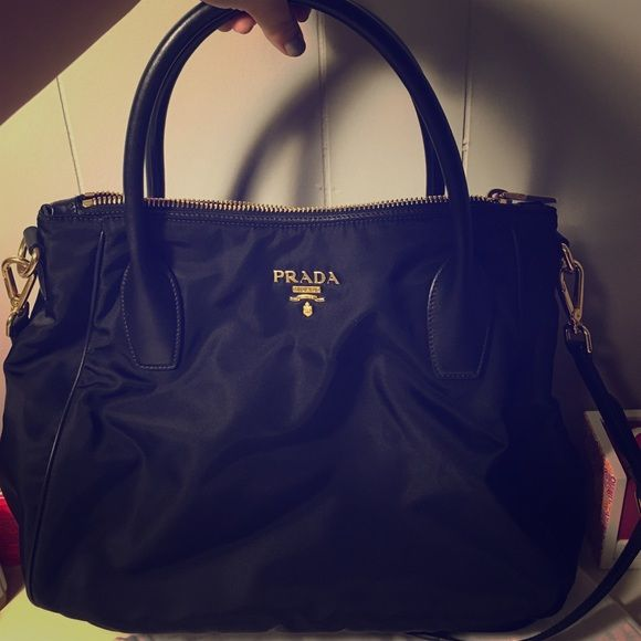 b9dee2e0b5f9d5 STILL AVAILABLE AUTHENTIC PRADA NYLON CROSSBODY Tessuto Nylon Crossbody  Hobo with Calf Handles. - comes