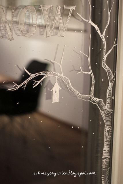 Fenster Bemalen Kreidestift Flüssig Kreide Fenstermarker