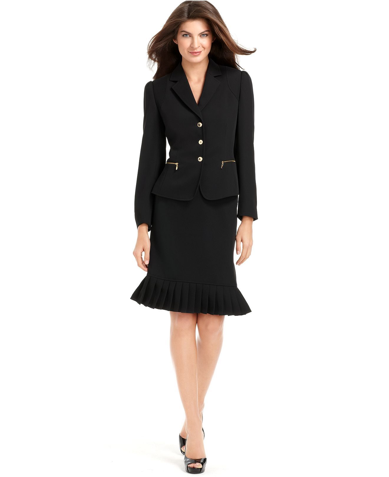 Tahari By Asl Suit Puff Shoulder Jacket Pleated Skirt Womens