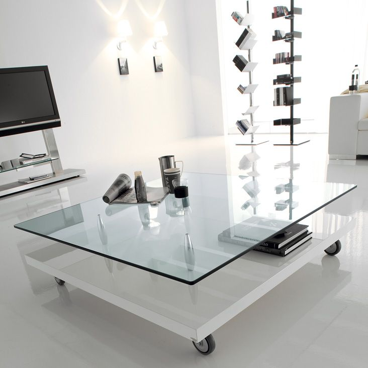 Coffee Table On Wheels With Base In Walnut Canaletto Or Polished White Or  Black. Top Part 96