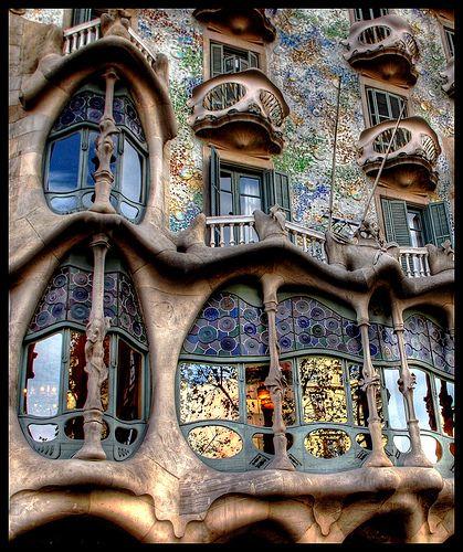 Gaudi in Barcelona, Spain.--