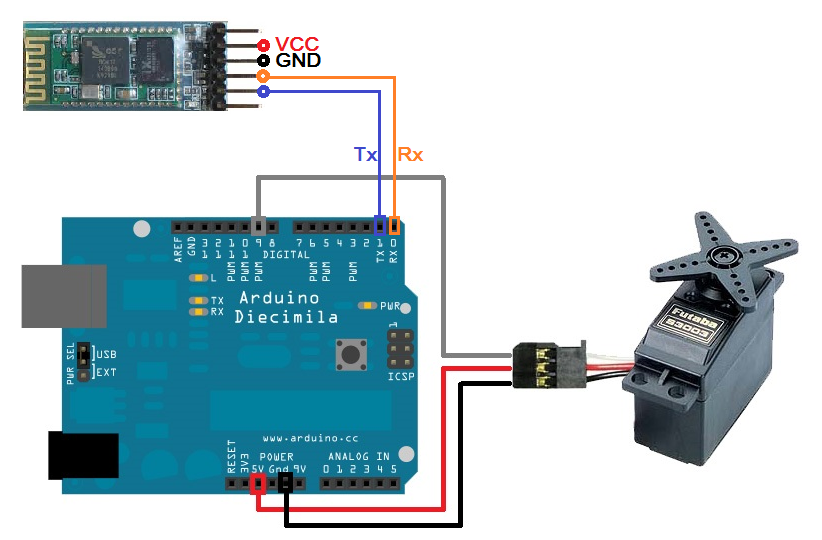 Android arduino control bluetooth servo motor