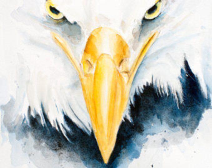 Eagle Art Print Wall Art Housewarming Gift Artwork Watercolor Painting American Eagle Bird Painting Bald Eagle Bird Artwork Golden Eagle Eagle Painting Eagle Art Bald Eagle Art