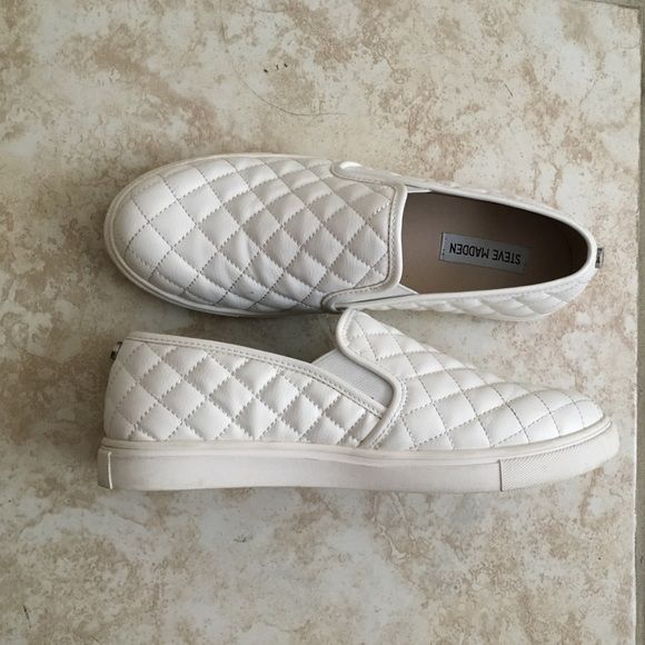 36eafb945 White quilted Steve Madden Ecentrcq sneakers White quilted Steve Madden  Ecentrcq slip on sneakers. The white is clean. Worn a couple of times to  school.