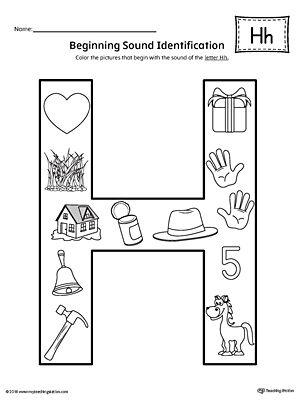 Letter H Beginning Sound Color Pictures Worksheet Letter H Worksheets Preschool Worksheets Printable Preschool Worksheets