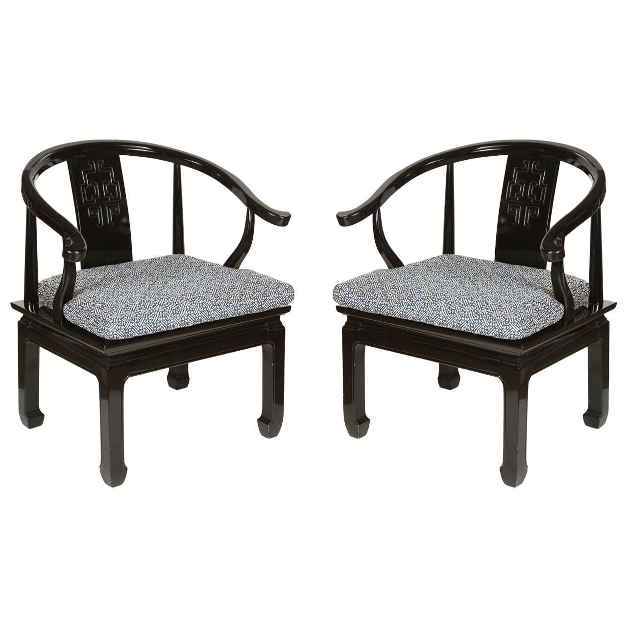 Black Ming Dynasty Lacquer Horseshoe Round Back Chairs | From a unique  collection of antique and modern armchairs at ... - Black Ming Dynasty Lacquer Horseshoe Round Back Chairs Armchairs