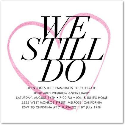 Eternal Heart Signature White Anniversary Party Invitations