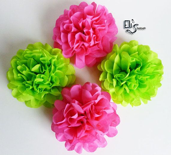 Wedding Napkin Rings Flowers Hot Pink Lime Green Tissue Pom Poms