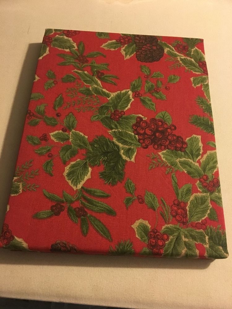 Ralph Lauren Birchmont Red 60 X 84 Cotton Christmas Green Holly Tablecloth