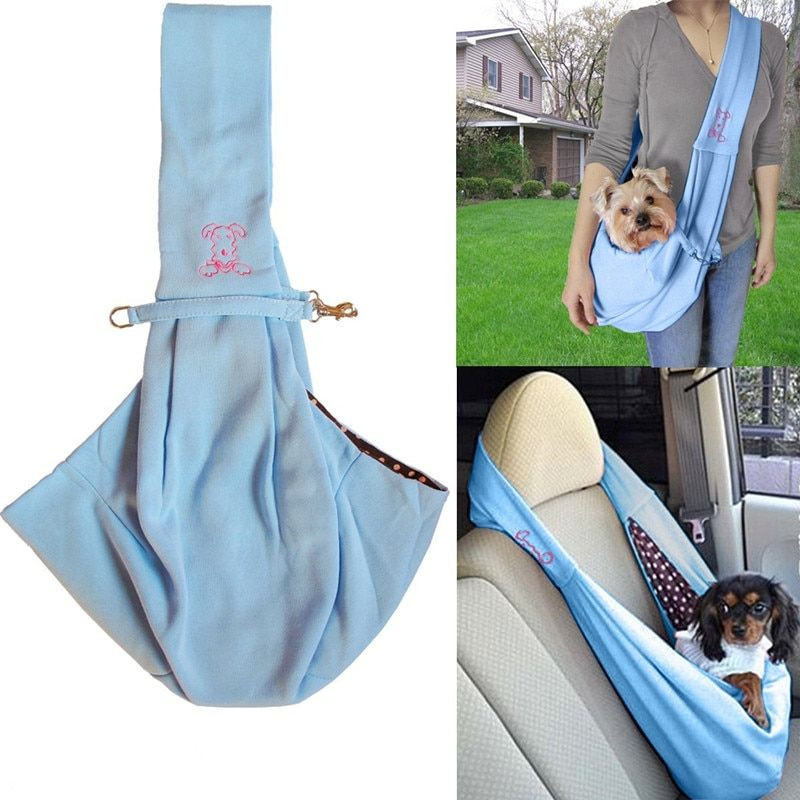 Hands Free Reversible Small Dog Cat Sling Carrier Bag Travel Tote Soft Comfortable Double Sided Pouch Shoulder Carry Handbag Dog Carrier Pet Sling Dog Sling