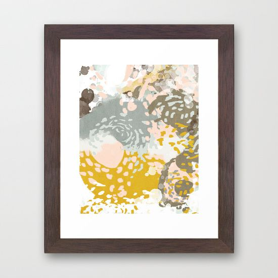 Hutton - Modern abstract painting for home decor and cell phone cases in gold grey mint white Framed Art Print