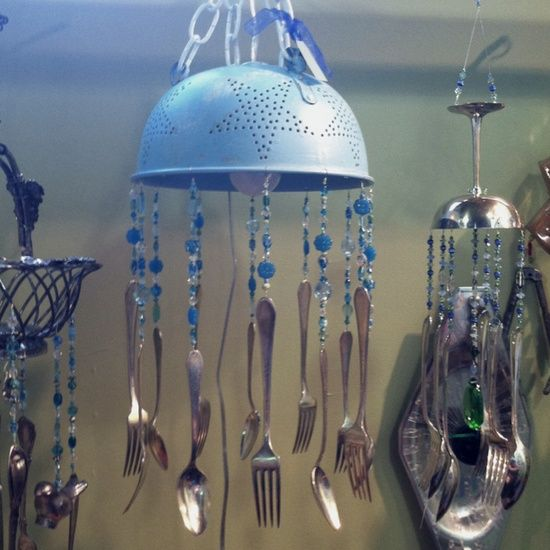 Wind Chimes Made From Kitchen Utensils Diy Homemade Chime And An Old Colander