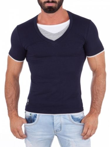 Råkul t-skjorte med 3 t-skjorter sydd i hverandre. Laget av 95% bomull og 5% elestan. Det litt stretch i t-skjorten. Normal i størrelsen. Farge: NavyStørrelser: S, M, L, XL og XXL