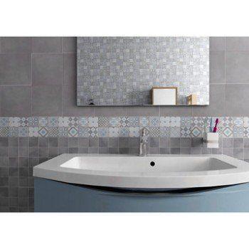 Mosaïque sol et mur Gatsby décor gris et bleu 617 x 617 cm Leroy - salle de bain gris et bleu