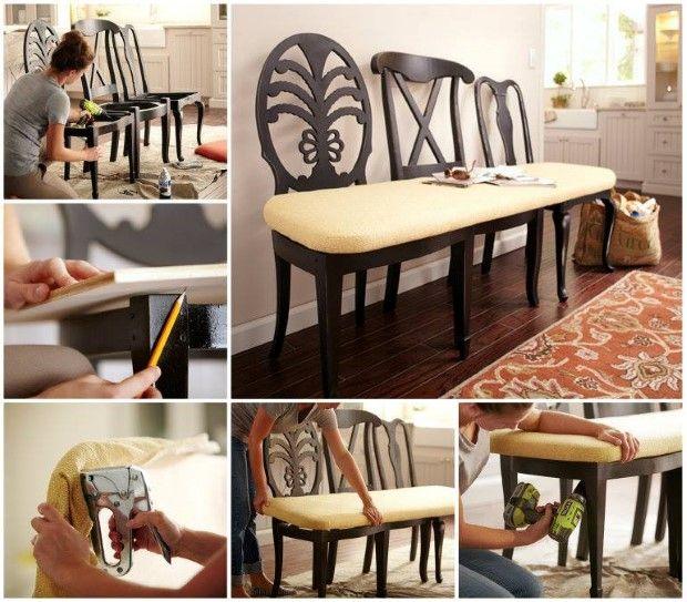 Superb Nápady Ako Vyrobiť Zo Starých Stoličiek Lavičku | DIY Návody 26