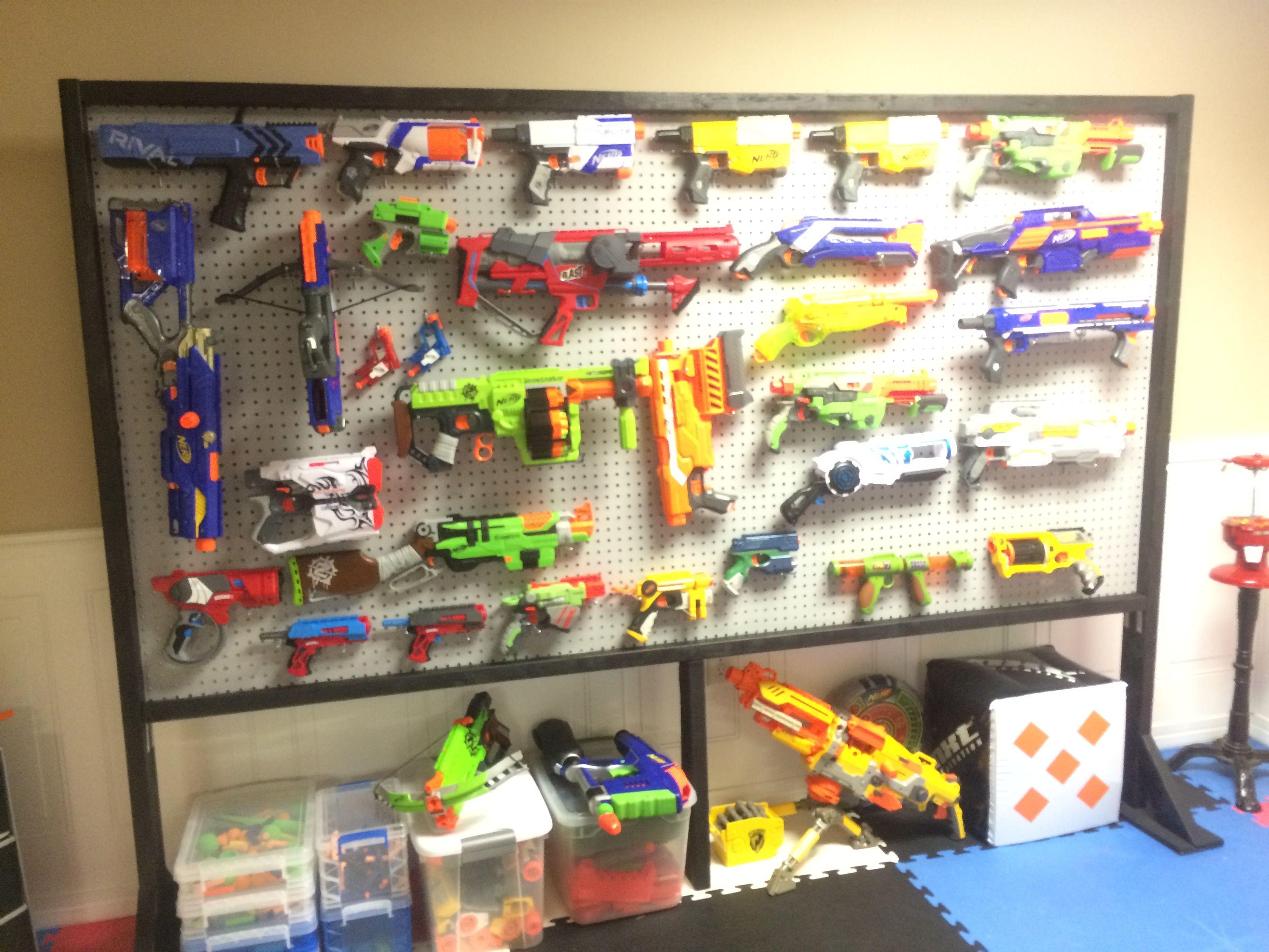 Our nerf gun storage solution!
