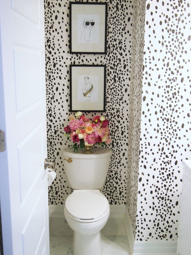 Powder room bathroom makeover with wallpaper #wallpaper #bathroom #powderroom #design