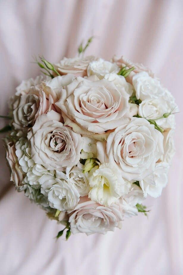 Beautiful Round Wedding Bouquet Featuring White Hydrangea Lisianthus Dusty Cream Taupe Roses