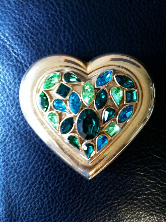 a92f5f0dfd8 Vintage 1980s Yves Saint Laurent Jeweled Make Up Compact - Poudre Ecrin -  Jewel Powder - RESERVED