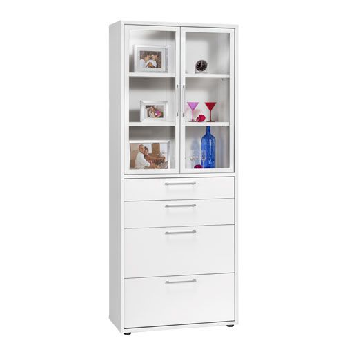 Maja Contact Tall Cabinet with Glass Doors and Filing Drawers ...