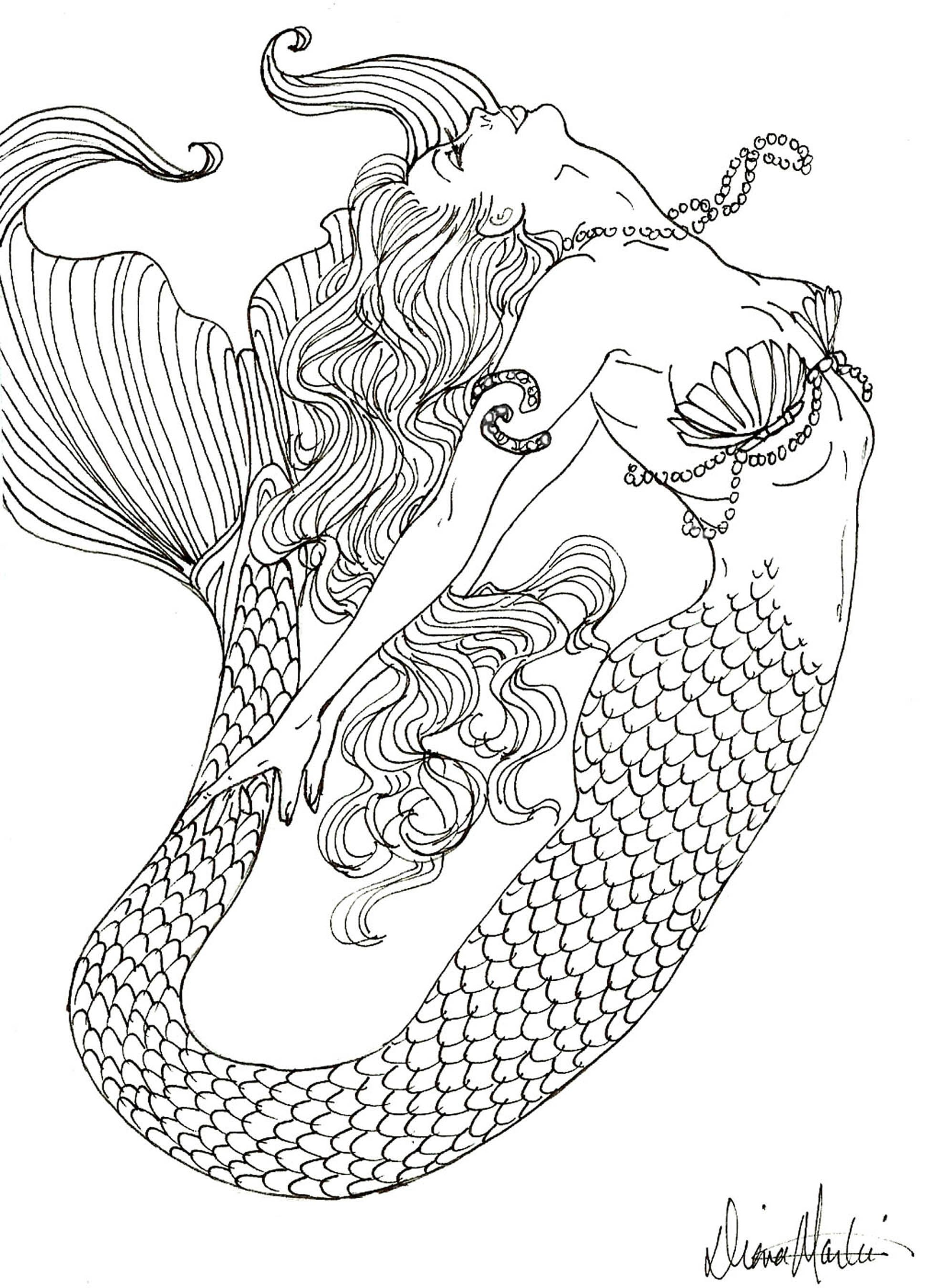 Coloring Pages Mermaids Coloring Pages To Print Mermaid Coloring Book Detailed Coloring Pages Realistic Mermaid