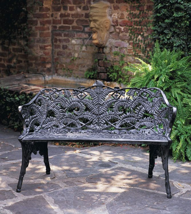Wrought Cast Iron Vintage Antique Style Garden Bench Painted In Farrow And Ball Ebay Gaby