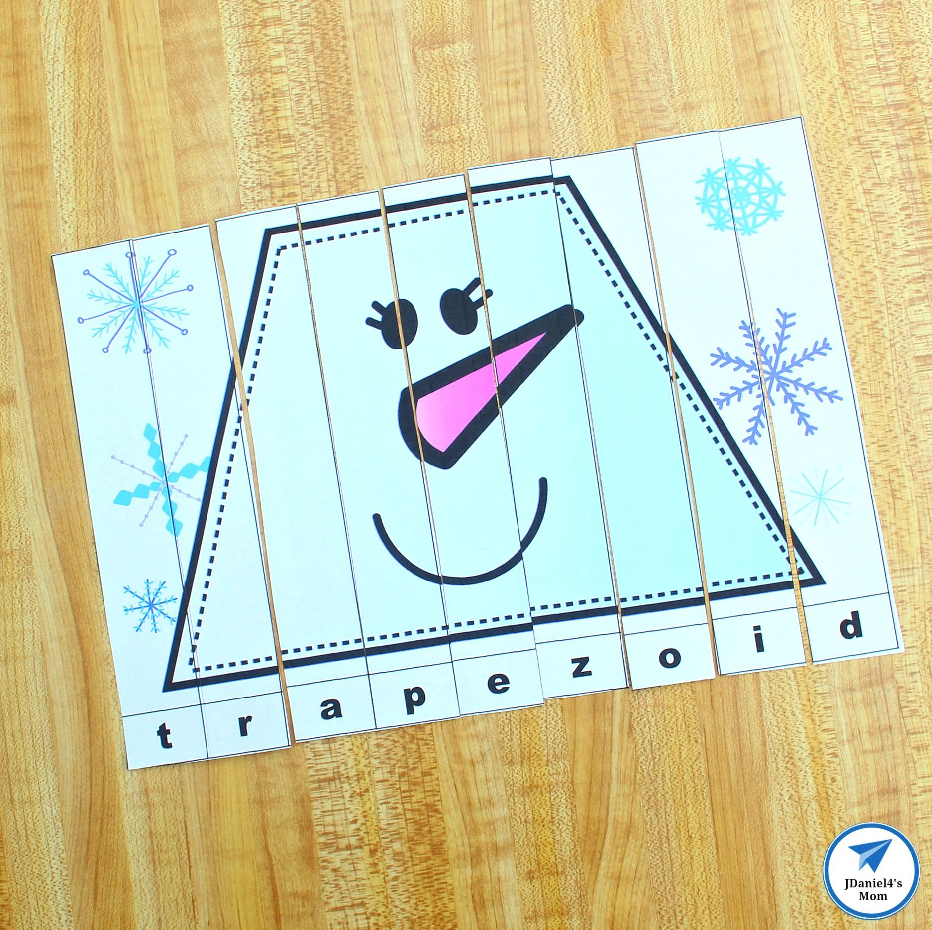 Snowman Shapes For Kids Printable Puzzles This Is The Trapezoid Puzzle Shapes Preschool Shape Activities Preschool Shapes For Kids [ 1868 x 1873 Pixel ]