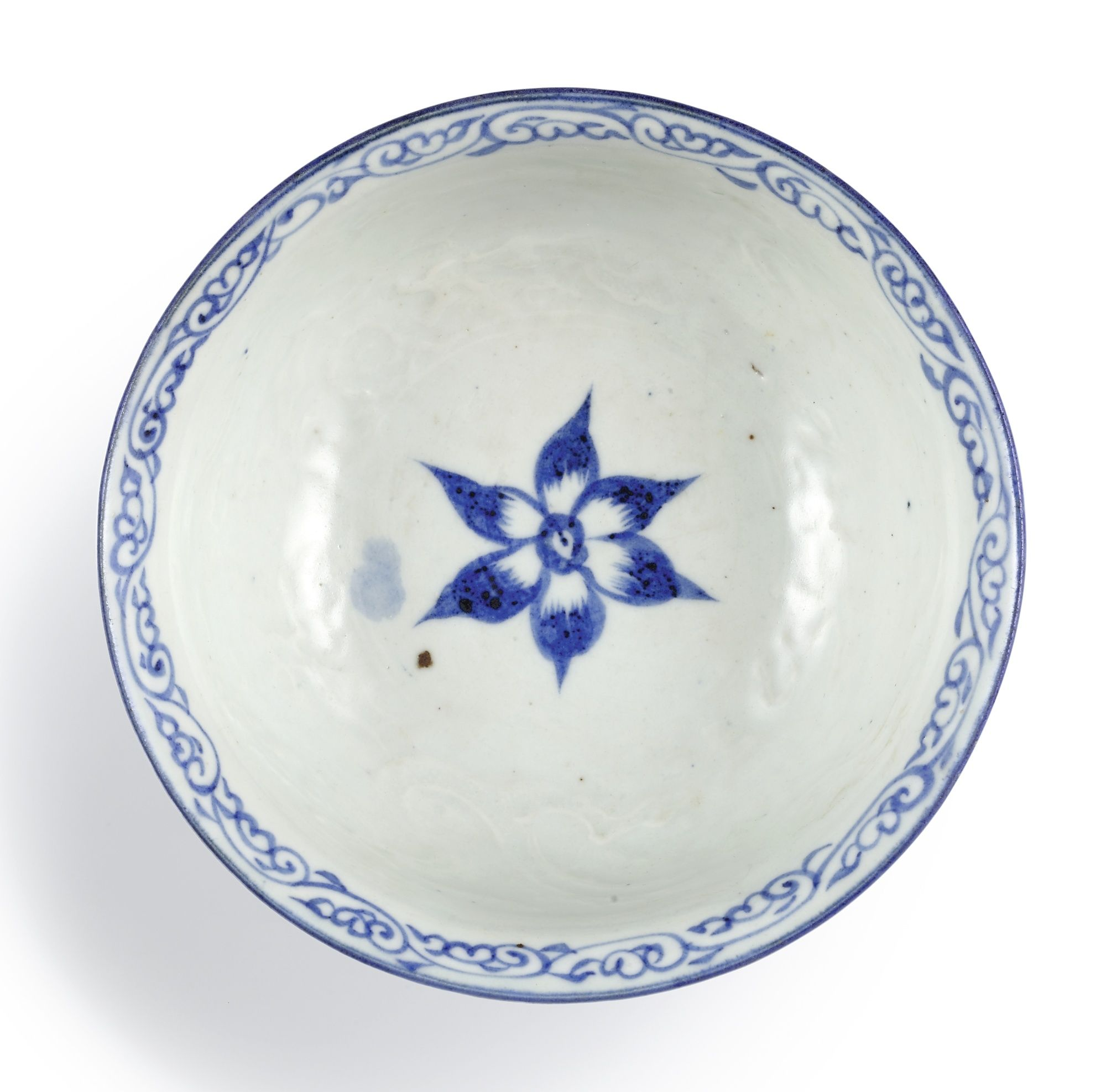 A very rare blue and white anhua 'dragon' stem cup , Yuan dynasty (1271-1368)