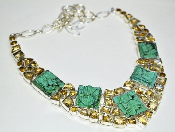 925 Sterling Silver Statement Necklace, Choker 112 Gram With Carving Turquoise & Citrine Fine Gemstones Necklace