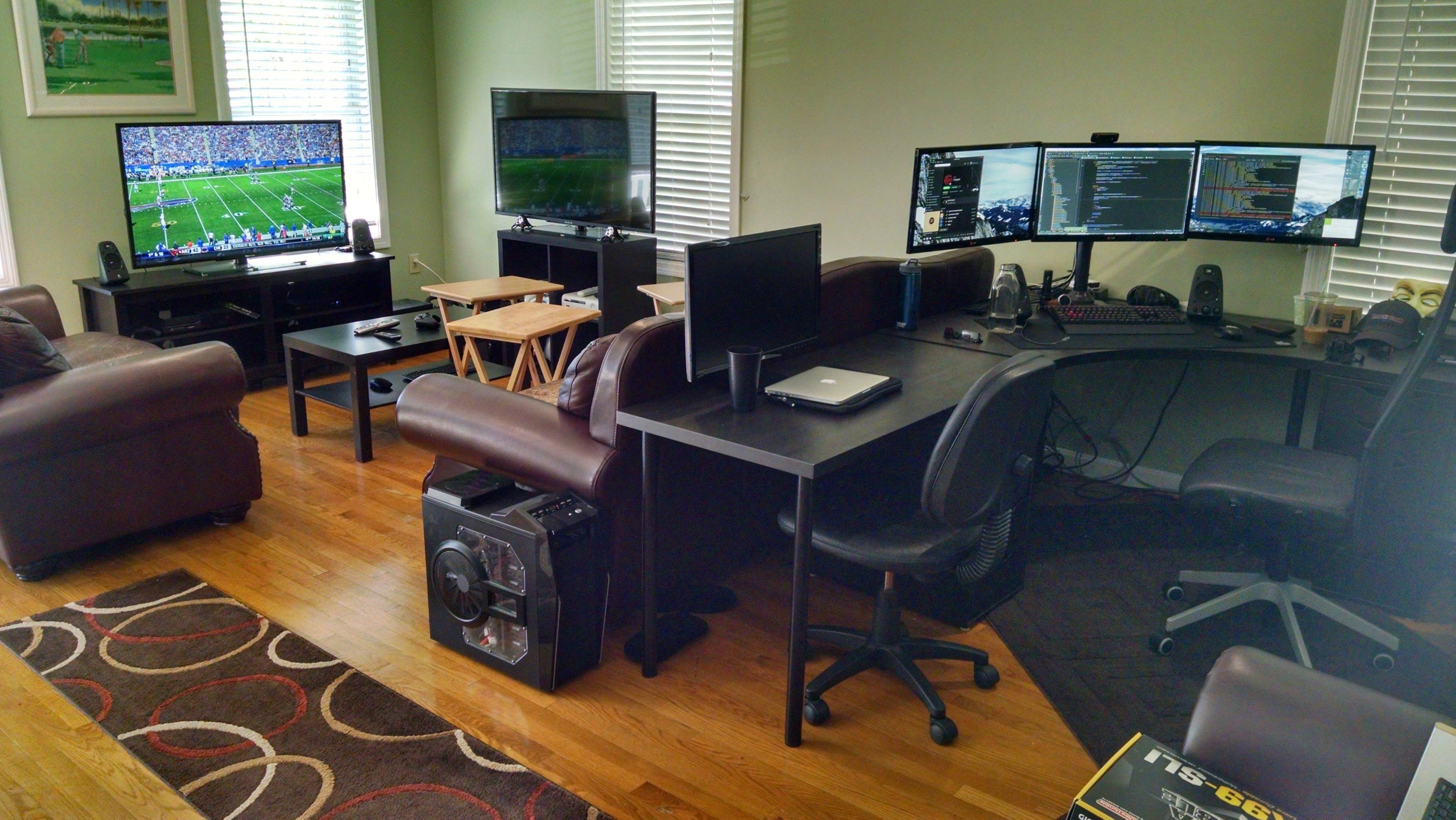 Living Room Battlestation Desk In Living Room Living Room Setup Room Setup