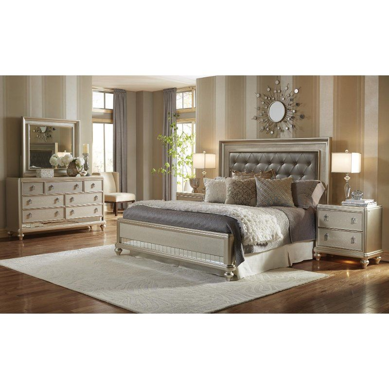 Traditional Champagne 4 Piece Queen Bedroom Set Diva