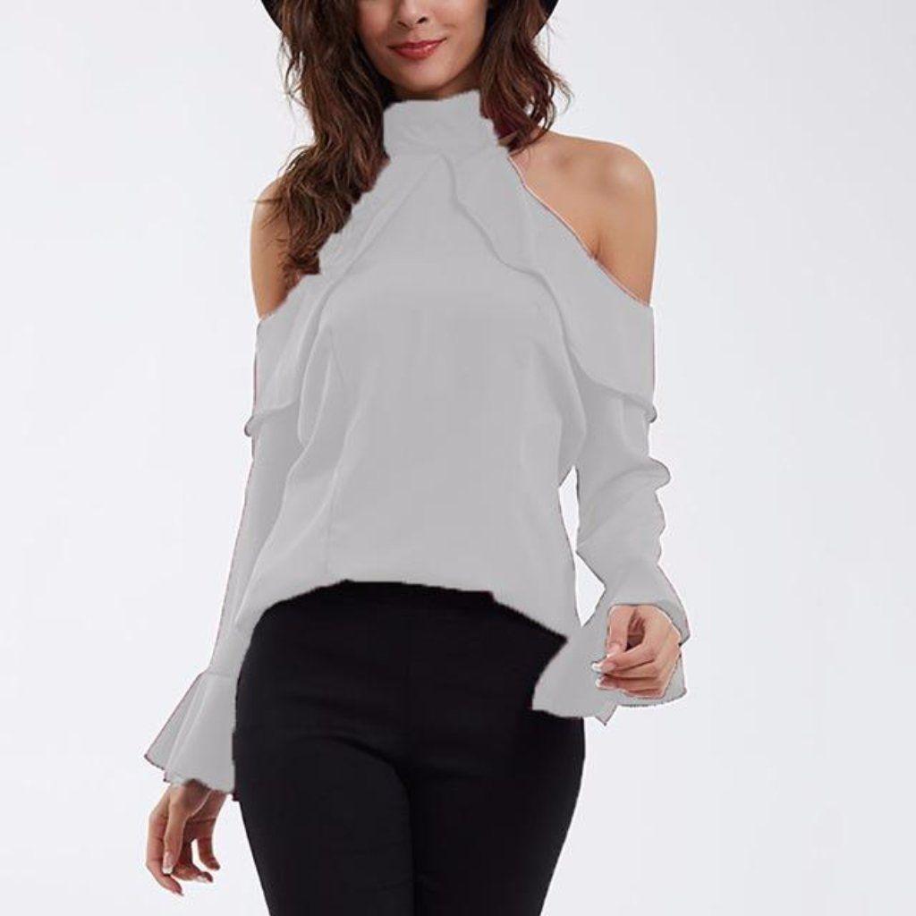 9edbe4afe9a593 Flounce Ruffle Ladies Cut Out Sleeve Tops | Fashion Inspiration ...